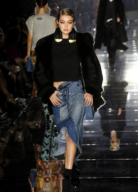 Gigi Hadid wears denim on the Tom Ford catwalk