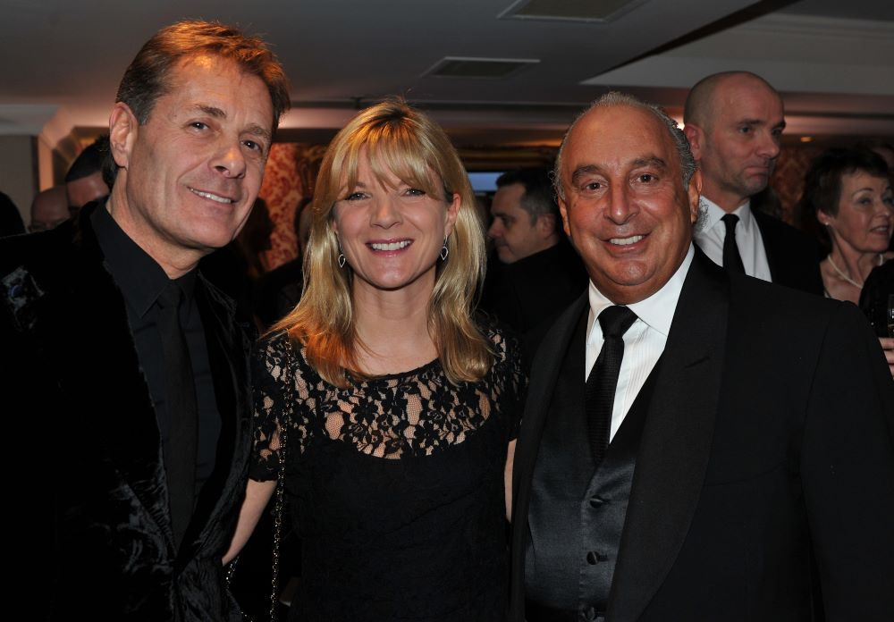 Ian Grabiner, CEO of Arcadia Group, Mary Homer, managing Director of Topshop & Sir Philip Green at the Retail Trust London Ball in 2013.