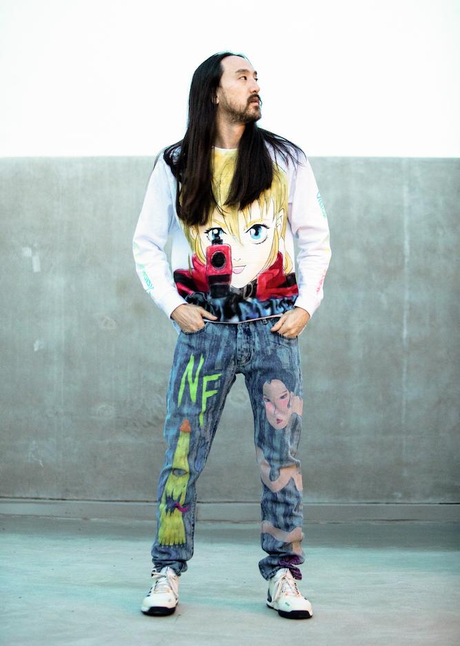 Steve Aoki wearing Dim Mak x Candiani EC-01 jeans.