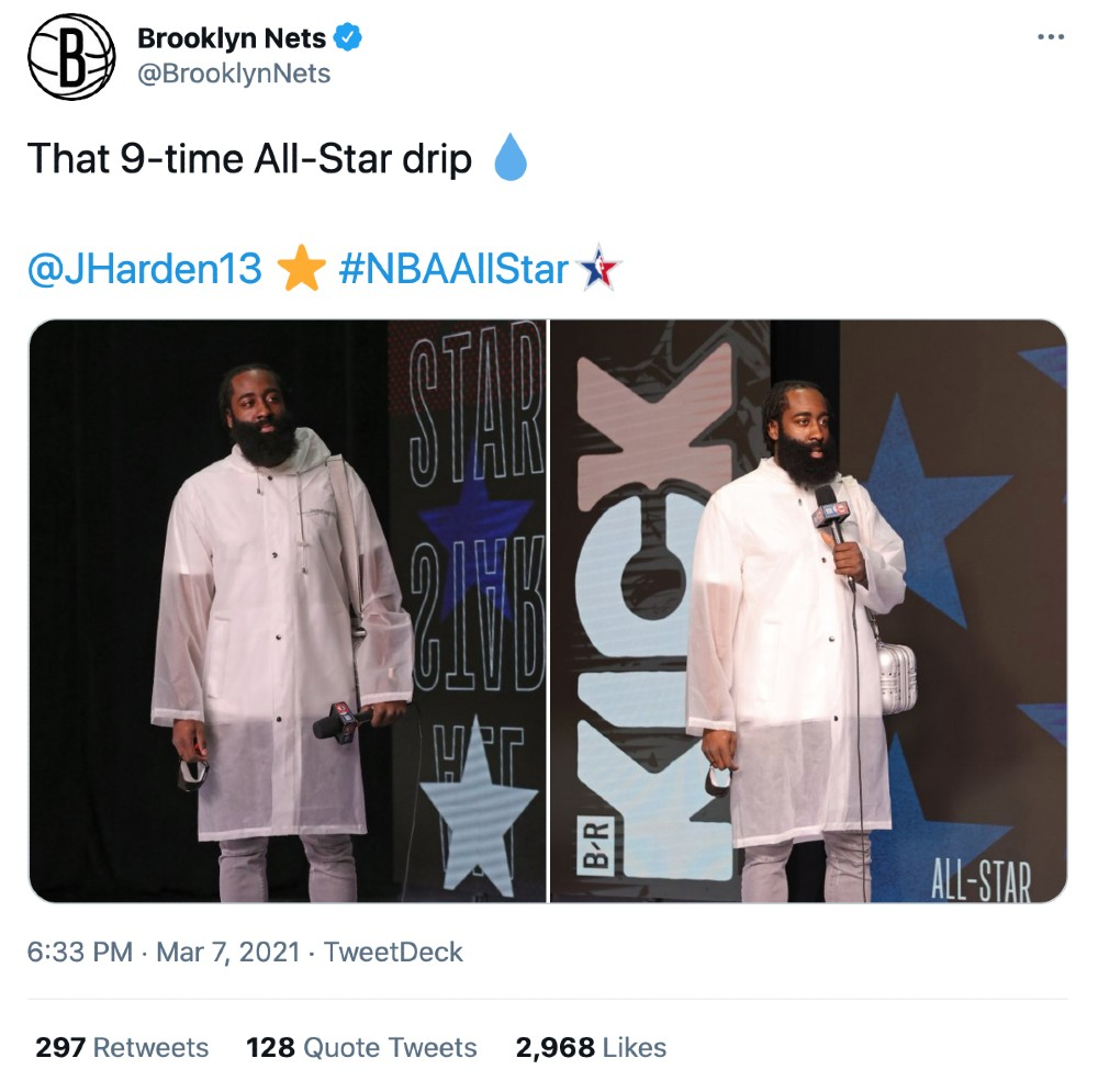 James Harden wore a see-through rain coat to the 2021 All-Star Game, quickly sparking a reaction on social media
