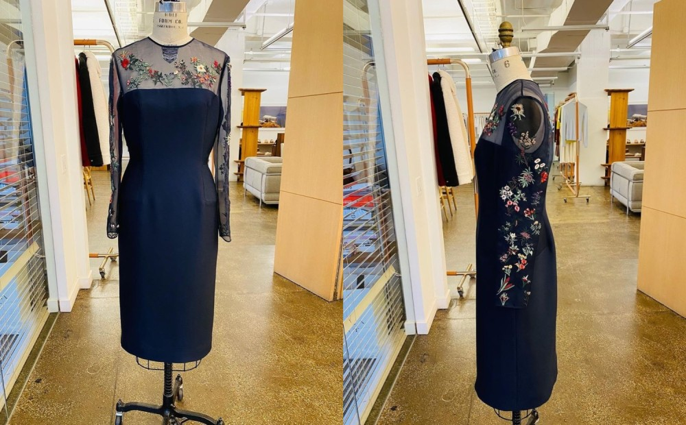 Images from Gabriela Hearst's Instagram show Dr. Biden's dress from different angles.