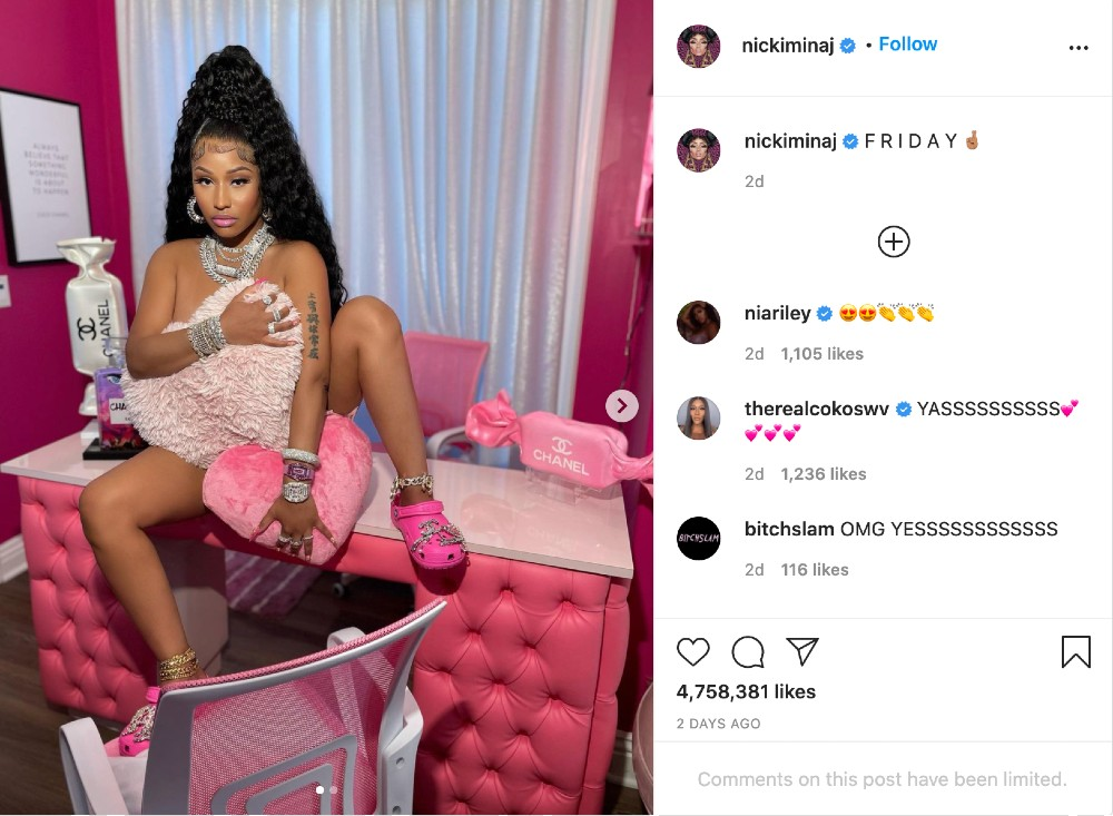 Nicki Minaj drove a surge in interest in pink Crocs this week when she donned a pair in her first Instagram post in five months