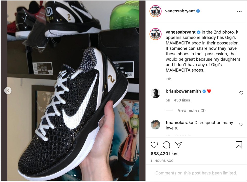 Vanessa Bryant included a picture of what appears to be someone from the public holding the Kobe 6 Protro she designed in honor of daughter Gianna Bryant