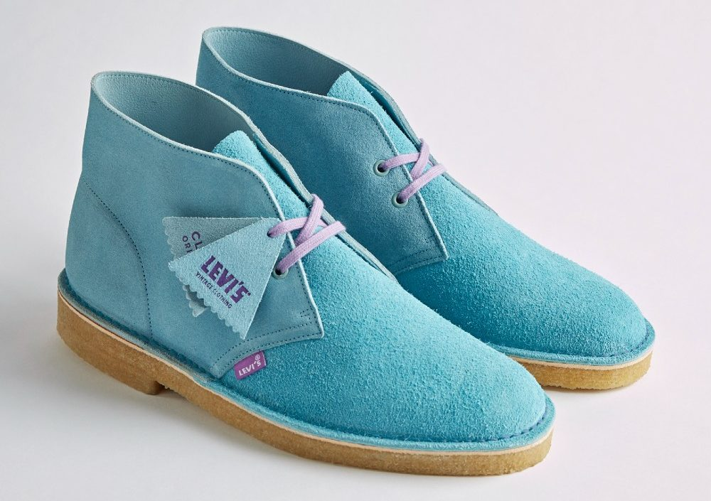 The desert boot in light blue suede with lavender laces.