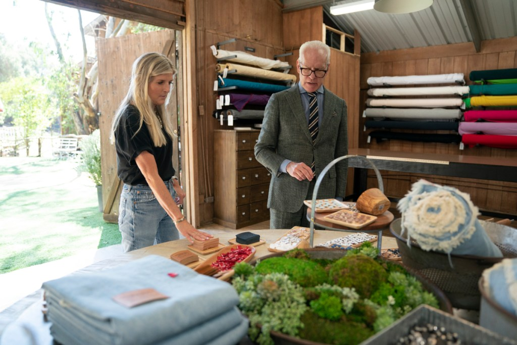 """Levi's chief product officer Karyn Hillman and Tim Gunn on season two, episode five of """"Making the Cut"""" streaming on Amazon Prime Video"""