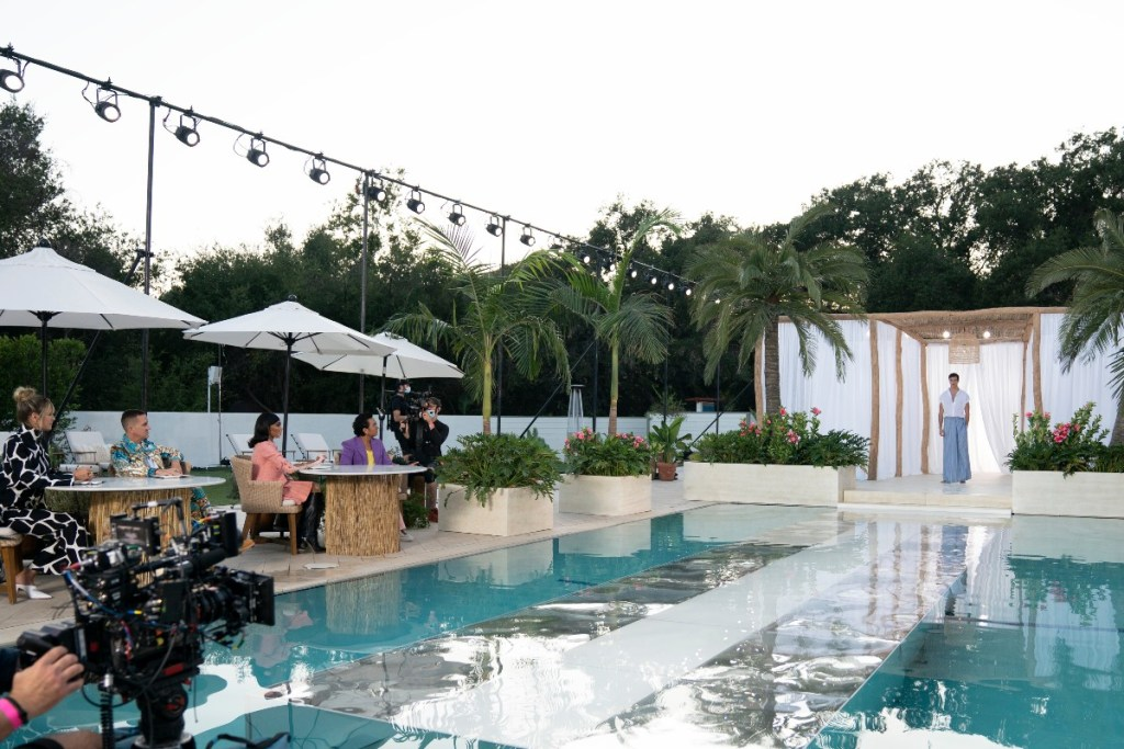 """Tim Gunn said the resortwear runway show, which sent models over a watery catwalk, was his """"all-time favorite."""""""