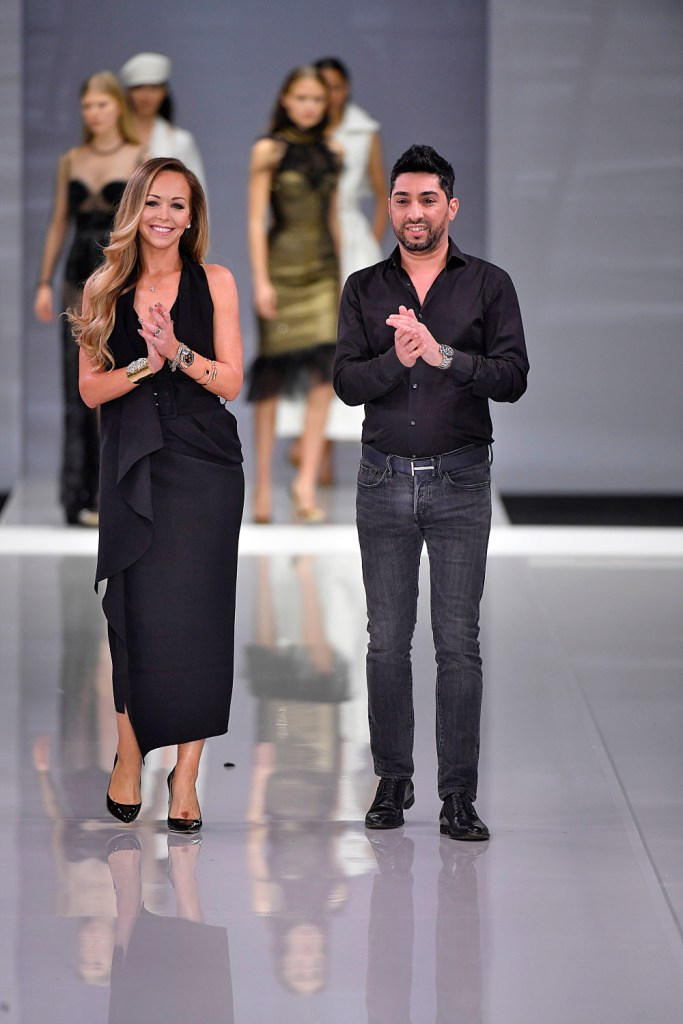 Designer Tamara Ralph, Michael Russo walks on the runway during the Ralph and Russo Fashion Show during London Fashion Week Spring Summer 2018 held at Old Billingsgate in London, England on September 15, 2017.