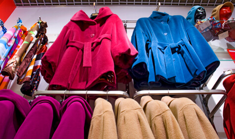 women's clothing, shop, coat, hat, showcase,