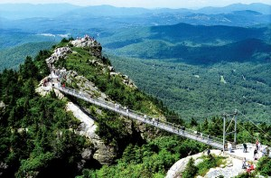 Grandfather Mountain's famous mile-high swing bridge