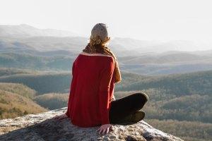 Woman enjoying mountain views near Asheville, NC