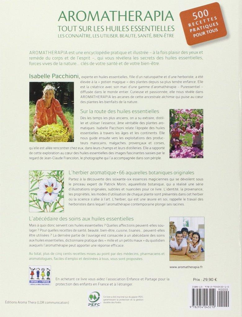 Verso du livre Aromatherapia, tout sur les huiles essentielles