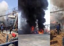 بالفيديو: حريق بسفينة صينية بميناء أكادير