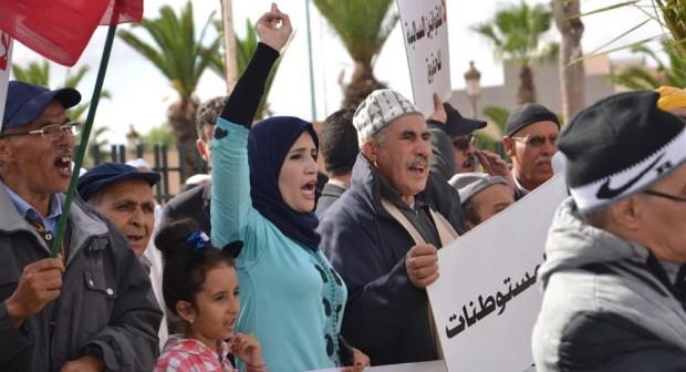 """سكان تيزنيت يحتجون على """"الرحل والحلوف وبوغابة"""" أمام العمالة"""