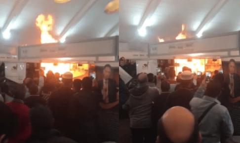 بالفيديو: هلع بمعرض الكتاب بسبب حريق مدمر