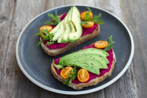 beetroot on toast with avocado
