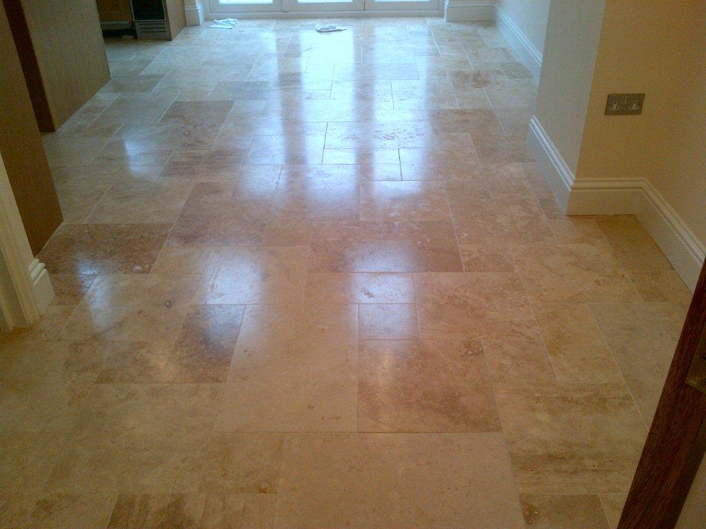honed travertine tiled floor re sealed