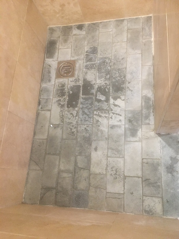 Limescale Stained Slate Shower Floor Before Cleaning High Wycombe