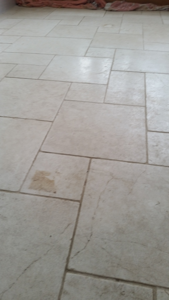 Limestone floor before cleaning in Hornchurch
