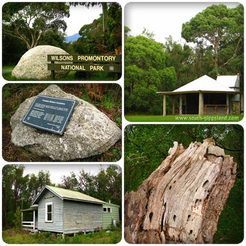 Collage of photographs taken of a summertime camp site, national park sign and the historic Yanakie Research Station at Wilsons Promontory National Park