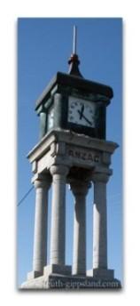 anzac memorial clock in Foster, Victoria, Australia