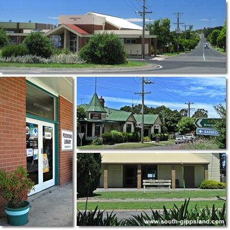 pictures of Poowong swimming pool, general store and local streets