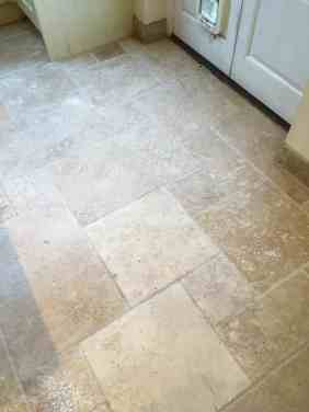 Travertine Tiled Kitchen Floor After Cleaning Shepperton