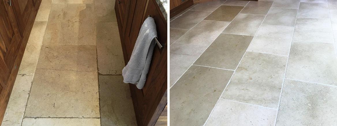 white tumbled marble tiled floor