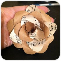 Paper rose with vintage sheet music