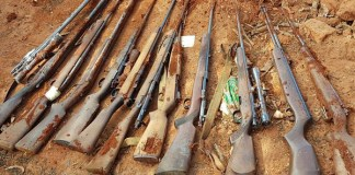 Arms cache uncovered, five arrested, Tzaneen. Photo : SAPS