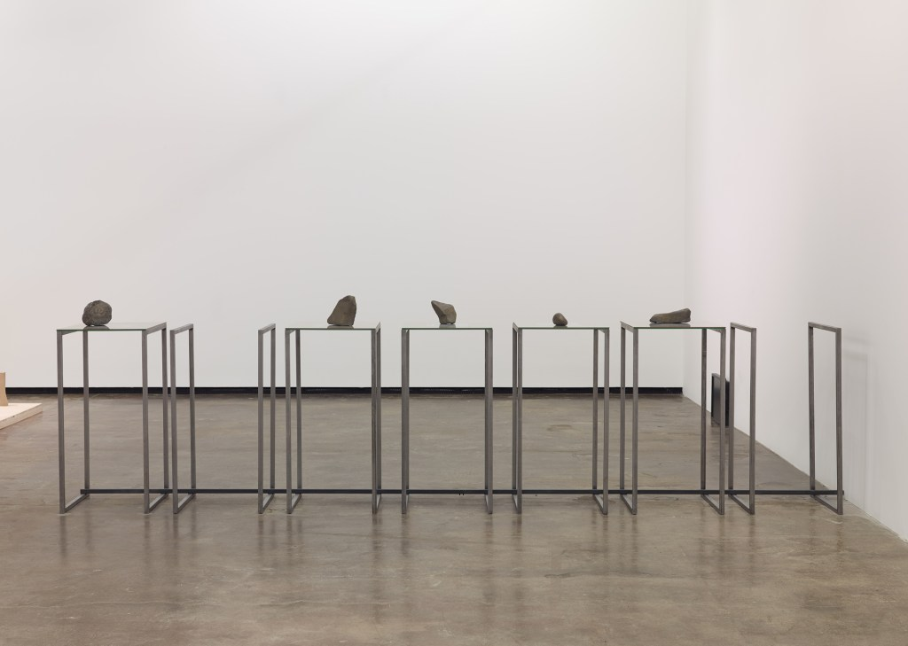 Repetitions and incidents-2013-Metallic structure, glass, MDF, photographs,bronze patined rocks-141 x 38 1:4 x 20 inches-1