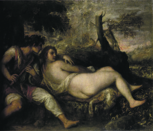 Tiziano, Ninfa e Pastore (Nymph and Shepherd), c.1570, Kunsthistorisches Museum Vienna LOW