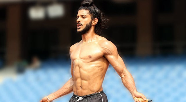 Farhan Akhtar displaying a good physique and fitness without stubborn fat that is not typical of Indians / South Asians