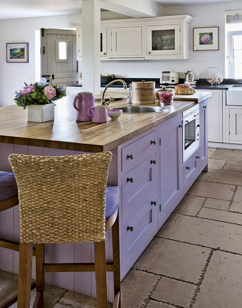 Painted Kitchen Cabinets Cabinetry Color Colorful Lavender Light Purple Violet Island Butcher Block Tile Floor White Kitchen Dutch Door Bar Stools Countertop Counter Shaker Flowers Beadboard