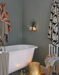 Country Bathroom with Grey Wood Panelled Walls - The Room Edit