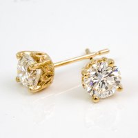 Yellow Gold Diamond Stud Earrings 0 25ctw Martini Round