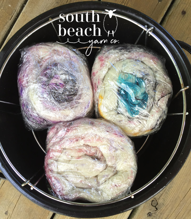 3 Skeins Speckled Yarn in the Dye Pot