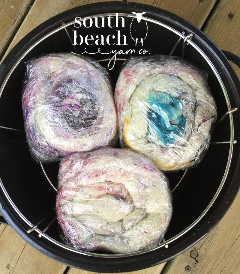 3 Skeins Speckled Yarn in the Dye Pot