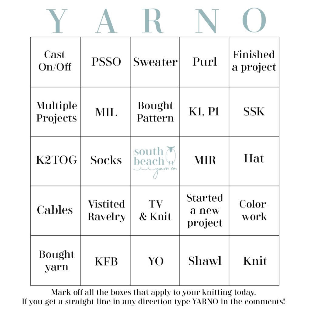 Yarno! is bingo card with knitting terms