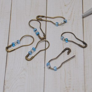 Blue and White Removable Stitch Markers