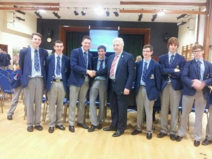 With pupils from St Colmans, Newry at a Parliament week debate.