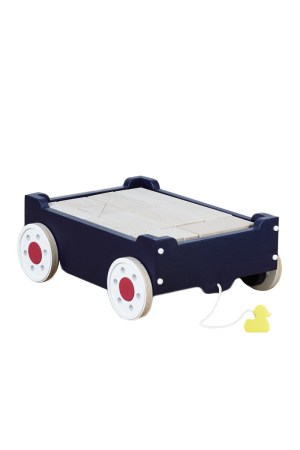 Kids Pull-Along Wooden Wagon with Blocks