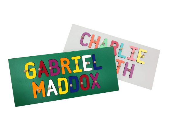 Personalized Wooden Two Name Painted Base Peg Puzzle