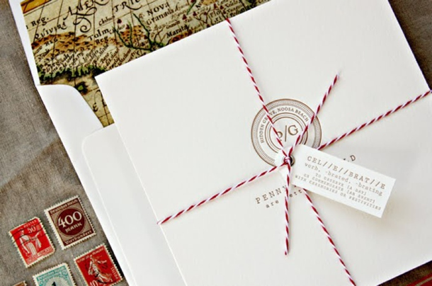Red White Travel Inspired Wedding Invitations Via Oh So Beautiful Paper 21