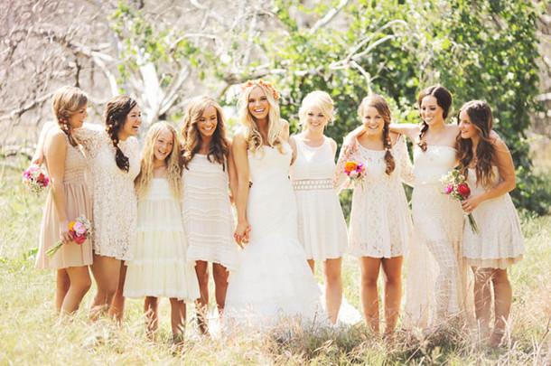 Mismatched White Lace Boho Bridesmaid Dresses  SouthBound Bride