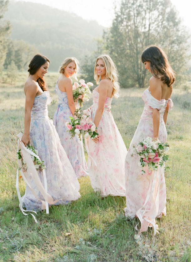 Pastel Floral Print Bridesmaid Dresses by PPS Couture  SouthBound Bride