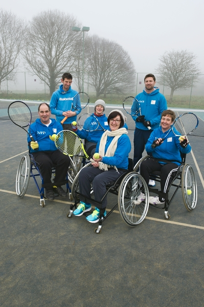 Pic by Samantha Cook Photography. January 24th 2017. JP Morgan Donation of £610.00 to purchase a sports wheelchair for the Wheelchair Tennis at Southbourne Tennis Club, Iford Lane, Bournemouth, Dorset BH6 5NF. Pic: L.T.A Licensed Tennis Coaches, Dave and Matt Sanger, with the new purchased chair, and members from the Wheelchair Tennis at Southbourne Tennis Club.
