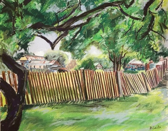 Beyond the Fence Hill End - 34cm x 28cm