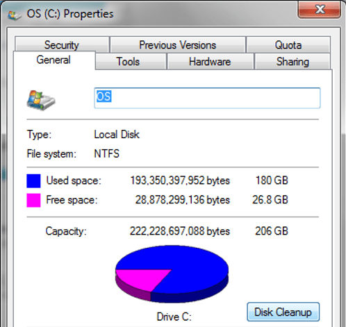 Windows 7 Disk Properties displaying disk space