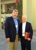 AgNet Media founder and president Gary Cooper (l) with HM. CLAUSE CEO Matthew Johnston - photo taken at a seed convention in California in early 2013.