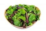 Salad Greens in Wood Bowl